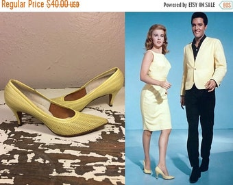 Anniversary Sale 35% Off The Girl Can't Help It - Vintage 1960s Lemon Yellow Mesh Leather Heels Shoes Pumps - 8