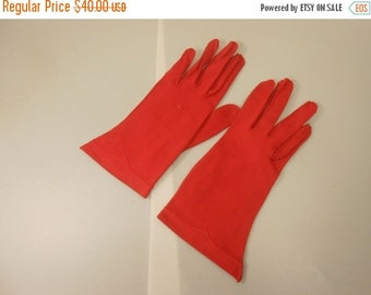 Anniversary Sale 35% Off The Red Hand of Romance - Vintage 1950s Van Raalte Bold Red Nylon Just to the Wrist Gloves - 6.5/7