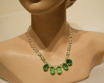 Anniversary Sale 35% Off Blades of Springtime Grass - Vintage 1950s Facet Cut Crystal Green & Clear Teardrop Necklace