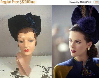 Anniversary Sale 35% Off High As Her Ambitions - Vintage WW2 1940s Black Felt Mermaid Halo Tall Tower Hat w/Blue Velvet