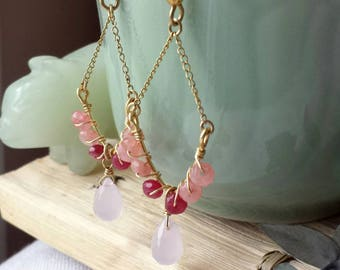 Rose Jade and Rose Glass Briolette Earrings on 14K Gold Filled Chain and Ear Wires