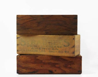 Vintage Cheese Boxes, Small Wooden Boxes, Rustic Farmhouse Decor, Desk Caddy Box, Small Shadow Box