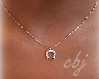 Sterling Silver Horeshoe Charm necklace ,Horse shoe Good Luck pendant necklace