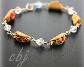 Taco Bracelet, Polymer Clay Taco Bracelet, Taco Bracelet Gold Filled, Crystal Bracelet, Taco Tuesday Bracelet, Taco Tuesday Jewelry