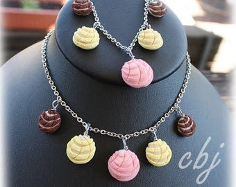 Pan Dulce Necklace, Pan Dulce Bracelet, Concha Necklace, Concha Bracelet, Concha Jewelry Set, Handmade