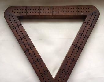 Vintage Cribbage Board Triangle Wood 1960s