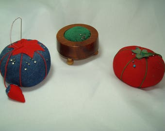 Vintage Trio of Red Tomato Denim Blue Strawberry  and Cedar Wooden Stool Pin Cushions.