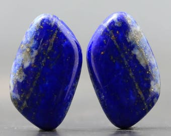 Pair Lapis Lazuli Natural Semiprecious Polished Jewels Cabochons Gemstones Beads Focals Smooth Stones for Jewelry Crafts (20838)