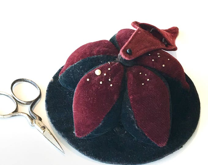 Antique Velvet Puzzle Ball Pincushion & German Scissors Keeper
