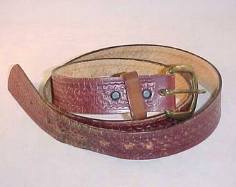 Tooled Leather Belt Size 36/39