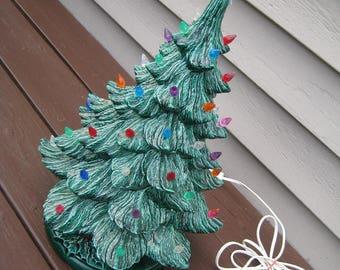 Vintage Ceramic Christmas Tree, Nowell Mold, Textured Finish, Holly Base