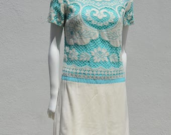 Vintage 60's JEANNETTE ALEXANDER of California lace and linen dress mad men mod summer dress Small by thekaliman