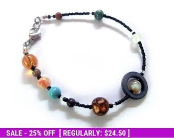 June SALE! MiniVerse 2004 - Solar System Bracelet with Pluto - Proportional Distances - Gemstone Planets - by Chain of Being