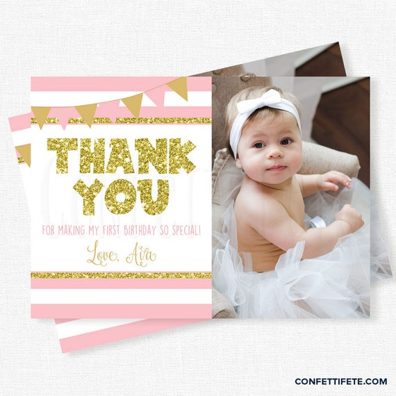Pink And Gold Thank You First Birthday Thank You Card Photo Thank