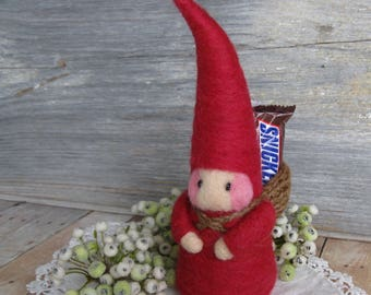 red gnome Christmas elf doll needle felted waldorf toy or fun keepsake decor for children stocking stuffer