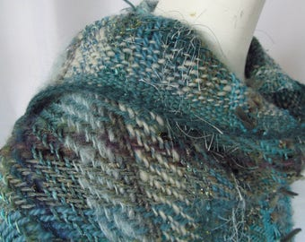Large Tri Loom  Fringed Shawl Handwoven in Aqua