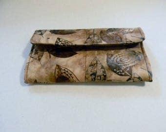 Brown Leaves Batik Clutch Wallet