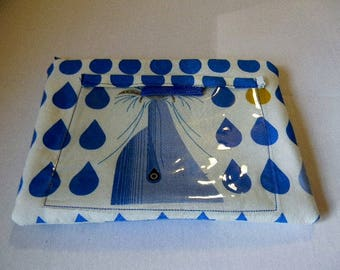 Blue Dolphin Zipper Pouch with Plastic Lining and Pocket