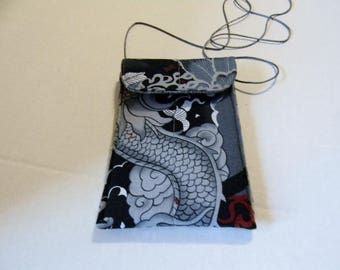 Gray, Black, and Red Dragon Fabric Passport Bag