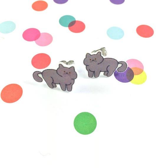 cat, grey colors, stud, earring, shrink plastic,  stainless stud, nickel free, light, handmade, les perles rares
