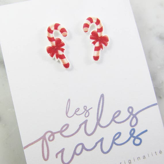 Christmas, candy, candy cane, winter, earring, christmas tree, red,hypoallergenic, plastic, stainless stud, handmade, les perles rares