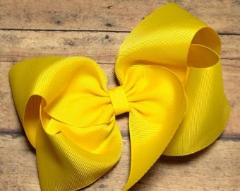 SUMMER SALE Yellow Big 8 Inch Twisted Boutique Bow Bright Yellow Bow