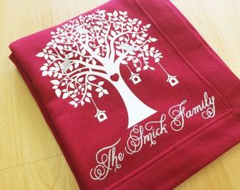 Family Tree Blanket Family Tree Names Mom Dad Grandma Family Blanket Grandmother Bird Blanket Blanket Family Name Custom Family Blanket