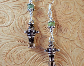Lost in Space Robot Earrings - Warning! Warning! - Green Howlite