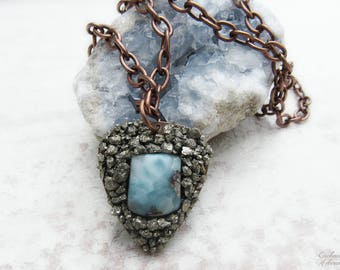 "Bohemian Pyrite and Larimar Crushed Gemstone Pendant Necklace .:. OOAK -- Aged copper metals and long 24"" chain,  boho style, chic"