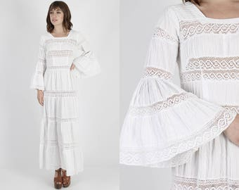 Mexican Dress Mexican Wedding Dress Ethnic Dress Boho Dress Maxi Dress Fiesta Dress Vintage 70s Hippie White Sheer Crochet Lace Maxi S