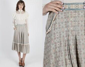 Gunne Sax Skirt Gunne Sax Mini Prairie Skirt Hippie Skirt Boho Skirt 70s Skirt Vintage Skirt Antique Floral Peasant Festival Lace Mini S