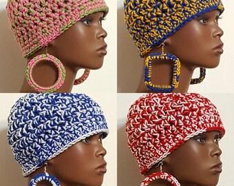 Sorority Chunky Crochet Beanie Skull Cap and Earrings by Razondalee  Alpha Kappa Alpha, Sigma Gamma Rho, Delta Sigma Theta, Zeta Phi Beta