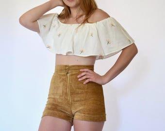 70s Bronze Chenille High Waisted Cuffed Hot Shorts xs