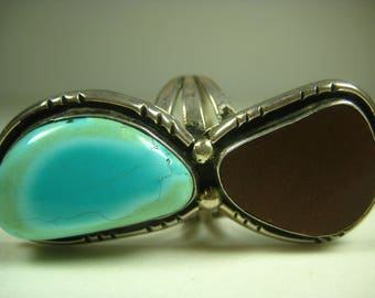 Vintage Southwestern Sterling Silver Turquoise Ring Size 11.25