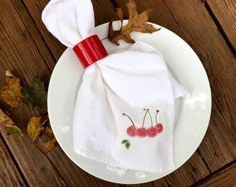 Cherry Napkins, Flour Sack Cotton, Napkin Dining Decor,Set of 2, Fruit Napkins, Farm to Table Event , Autumn Decor Gift, Holiday Napkins
