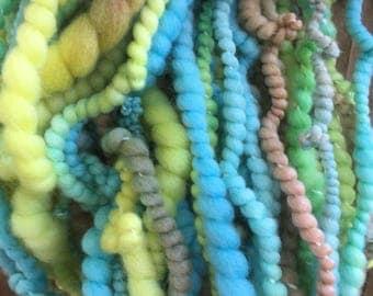 Hand spun Art yarn hand spun hand dyed blue brown yellow bulky 2 ply knitting supplies crochet supplies Waldorf doll hair wool baby photo pr