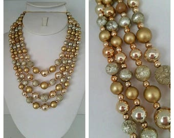 1950s Multi Strand Necklace, goldtone