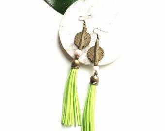 Tassel statement earrings - lime green tassel earrings- African jewelry - boho gypsy dangle earrings