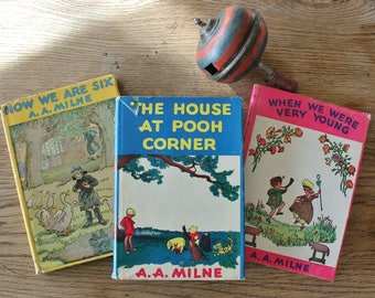3 Vintage A A Milne Books  House at Pooh Corner, Now we are six, and When we Were Young