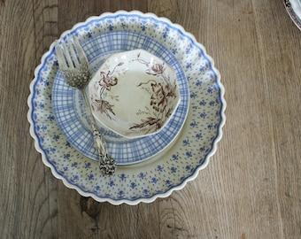 Antique Copeland Spode Porcelain Blue Fleur De Lis Serving Bowl