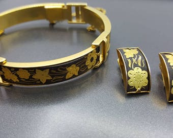 Spanish Damascene Bracelet and Clip earrings Enamel over Gold  Delicate Etchings