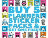 Planner Sticker Bundle - Pick and Mix, Stickers for bullet journal, Cat Stickers, Sticker Sheets, Diary Sticker Pack