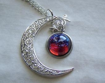 Celestial Dragon's Breath Opal Pendant with Filigree Moon