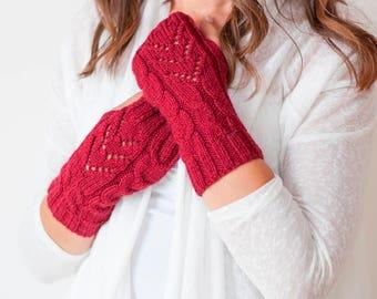 Handmade Chic Gloves, Fingerless Gloves,  Wristwarmers, Handwarmers  Mittens - Wool Blend - So Soft and Warm - in DARK RED