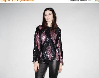 On SALE 35% Off - Vintage Black and Pink Disco Sequin Top -  Black and Pink Sequin Tops - The Trixie Blouse  - 1046