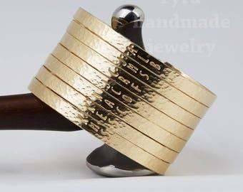 Silver gold or rose gold Half Cuff Bracelet,Hammered initial Bar Bracelet,Engraved Quotation,hand stamped full name,Personalized bracelet
