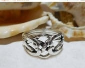 ON SALE Sterling Silver 4 Band Puzzle Ring Open Face  3.21g Size 7