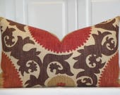 RESERVED - Decorative Pillow Cover - Fahri Clove - Suzani - Brown - Dark Red - Rust - Tan -