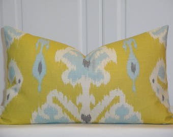 DOUBLE SIDED - Decorative Pillow Cover - IKAT - Citron - Soft blue - Grey - Accent Pillow - Sofa Pillow