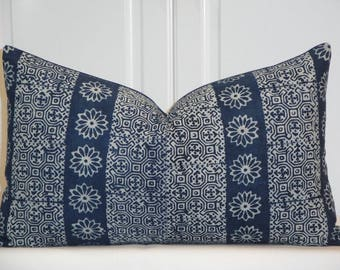 NEW - Indigo Batik Decorative Pillow Cover - Hmong Pillow -Tribal Pillow - Batik Pillow - Navy Pillow - Toss Pillow
